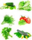 Collage of vegetables on white background. Stock Photo