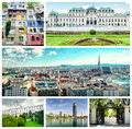 Collage of vienna landmarks in panoramic city view upper belvedere donau city hundertwasser house the museum art history and Stock Photography