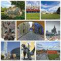 Collage from warsaw photo poland includes major landmarks of the city Stock Image