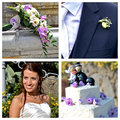 Collage wedding the best moments of the Stock Image