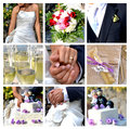 Collage wedding the best moments of the Royalty Free Stock Images
