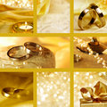 Collage of wedding motives in gold Stock Image