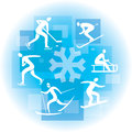Collage of winter sport icons icon on the blue background vector illustration Stock Photo