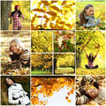 Collage woman in autumn park beautiful women Royalty Free Stock Photo
