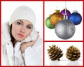 Collage woman with christmas balls and pine cones Royalty Free Stock Photos