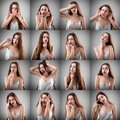 stock image of  Collage of woman with different facial expressions
