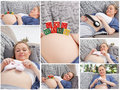 Collage of a woman during her pregnancy Royalty Free Stock Photography