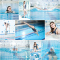 Collage of woman swimming in the indoor pool young sport blue water race Stock Photo