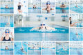 Collage of woman swimming in the indoor pool young sport blue water race Royalty Free Stock Photography