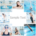 Collage of woman swimming in the indoor pool young sport blue water race Stock Photos