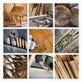 Collage of wood and joinery tools on a Stock Images