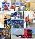 Collage with workers in industry and transport at the workplace Royalty Free Stock Photo