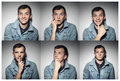 stock image of  Collage of young man with various expressions