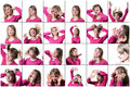 stock image of  Collage of a young woman expressing different emotions and feelings. on a white background