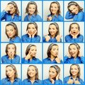 Collage Of Young Woman Face Ex...