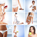 A collage of young women on spa procedures Stock Photos
