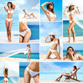 Collage of young women in swimsuits on the beach sporty slim and sexy resting a summer vacation Royalty Free Stock Photos