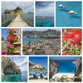 Collage from zakynthos photo greek island on ionian sea includes most famous places of the island Stock Image