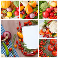 Collages of fresh vegetables. Royalty Free Stock Photo