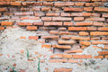Collapse brick wall with some cement Royalty Free Stock Image