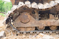 Collapse bulldozer wheel after fixing on land Royalty Free Stock Images