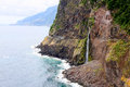 The collapse of cliff a into ocean madeira island Stock Image
