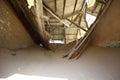 Collapsed roof in Kolmanskop ghosttown Royalty Free Stock Photo
