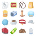 Collar, pet food and other products. Pet shop set collection icons in cartoon style vector symbol stock illustration web