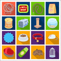 Collar, pet food and other products. Pet shop set collection icons in flat style vector symbol stock illustration web.