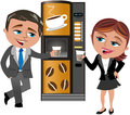 Colleagues drinking coffee during the break illustration featuring bob and meg having at vending machine isolated on white Royalty Free Stock Photography
