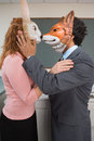 Colleagues wearing masks Royalty Free Stock Photo