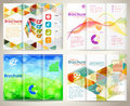 Collect brochures design template business with triangle pattern pencil icons wave pattern and number options vector Royalty Free Stock Images