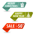 Collect christmas signs with tear off coupon vector illustration Stock Photography