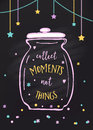 Collect Moments Not Things. Glass Jar and Lettering Sign Royalty Free Stock Photo