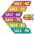 Collect sale signs with tear off coupon vector illustration Stock Photography