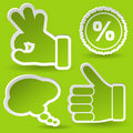 Collect Sticker with Hand and Stamp Icon Royalty Free Stock Photo