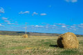 Collected in stacks of hay in the field a farm Royalty Free Stock Photos