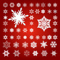 Collection of 50 Fifty Snowflakes on Red Stock Photography