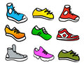 Collection of 9 abstract shoes Stock Images