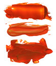Collection of abstract acrylic brush strokes blots red Stock Photos
