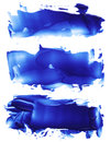 Collection of abstract acrylic color brush strokes blots.