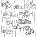 Collection of abstract fish on white background. Scetch illustration. Black outline on white background