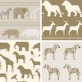 Collection of african animals patterns seamless with Stock Photo