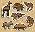 Collection of african animals stickers with seamless pattern