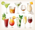 Collection of alcohol drinks. Royalty Free Stock Photos