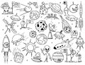 Collection Set Of Alien, UFO Planet And Space Doodles Illustrations.