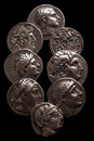 Collection of ancient greek coins on a black background Royalty Free Stock Photo