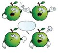 Collection angry apples various gestures Royalty Free Stock Photos