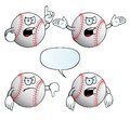 Collection angry baseballs various gestures Royalty Free Stock Photography