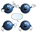 Collection angry bowling balls various gestures Stock Photography